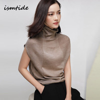 ismtide wool soft elastic turtleneck sleeveless sweater summer women sweater female brand jumpers pullover
