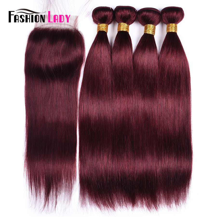 Fashion Lady Pre-Colored 2/3/4 Human Hair Bundles With Cloure Red Brazilian Hair Weave Bundles With Free Part Closure Non-Remy