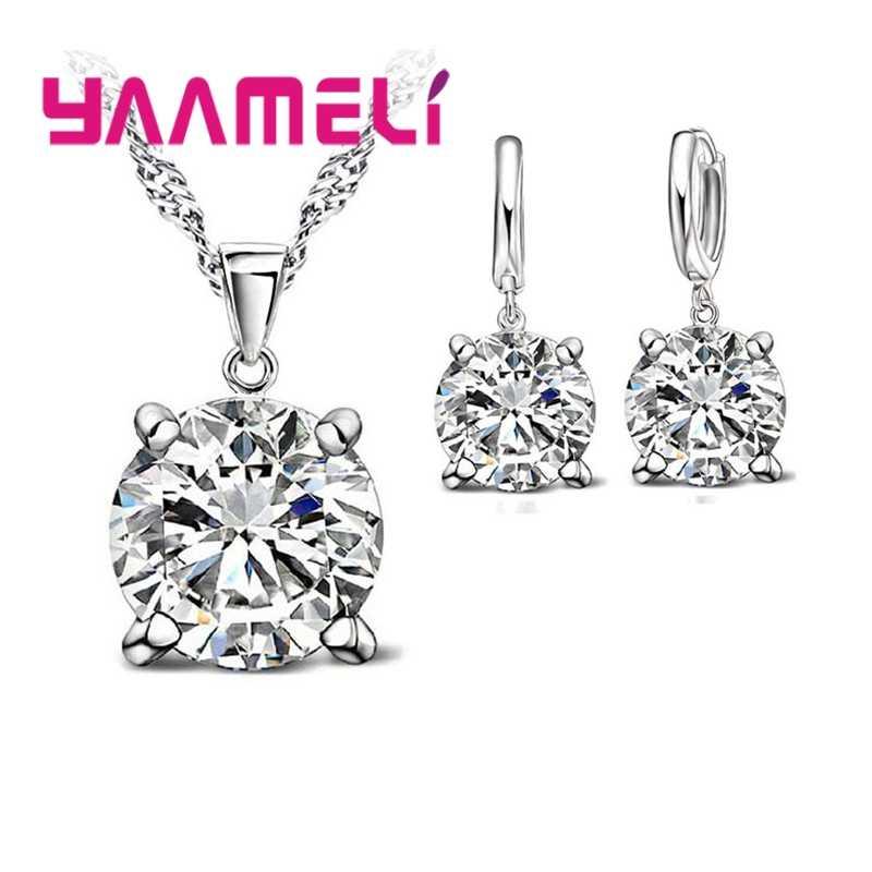 925 Sterling Silber Schmuck Sets Zirkonia CZ Anhänger Halskette Ohrring Klassischen Brautkleid Hochzeit Schmuck Für Frauen