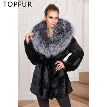 TOPFUR  New Arrival Real Fur Coat Women Winter Genuine Rex Rabbit Jacket With Silver Fox Hood Thick Warm Female
