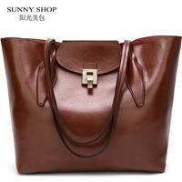American Style Shoulder Bag 2018 Soft PU Women Leather Handbags Office Large Capacity A4 Ladies Hand Bag Sling Shopper Bag Brand