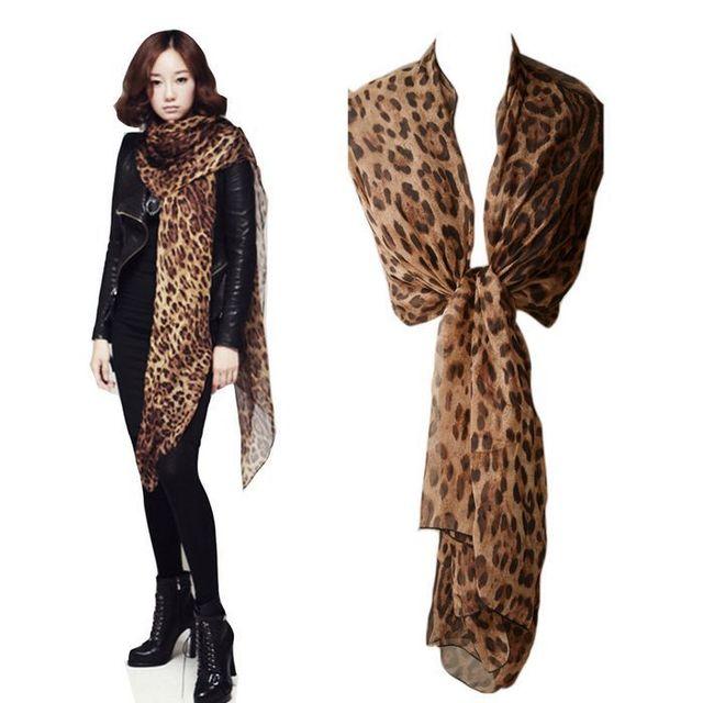 Long Scarf Women Wrap Style 160*60CM Leopard Print Scarves PJ113