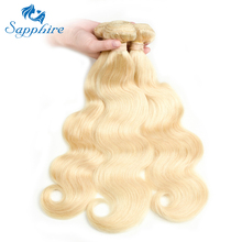Sapphire Wavy Hair Extensions Body Wave Human Hair Bundles 613 Blonde Human Hair 3Pcs Body Wave Blonde Bundles For Hair Salon