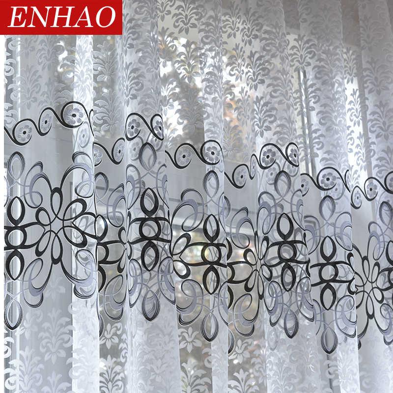 ENHAO ดอกไม้โมเดิร์นผ้าม่าน Tulle SHEER สำหรับห้องนั่งเล่นห้องนอนห้องครัว Voile SHEER ผ้าม่านหน้าต่าง Tulle ผ้าม่าน