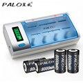 Зарядное устройство PALO C906W с ЖК-дисплеем  интеллектуальное зарядное устройство для батарей AA/AAA/SC/C/D/9 в  4 шт.  8000 мАч  D размеры