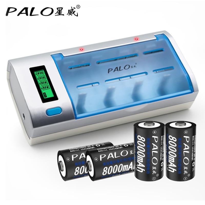 PALO C906W LCD Affichage Intelligent Intelligent Chargeur de Batterie Pour AA/AAA/SC/C/D/9 V Taille Batteries avec 4 pcs 8000 mAh Piles de Taille D