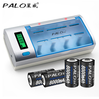 PALO C906W LCD Display Smart Intelligent Battery Charger For AA/AAA/SC/C/D/9V Size Batteries with 4pcs 8000mAh D Size Batteries