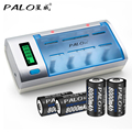 Palo c906w pantalla lcd inteligente cargador de batería inteligente para aa/aaa/sc/c/d/9 v tamaño baterías con 4 unids 8000 mah pilas de tamaño d
