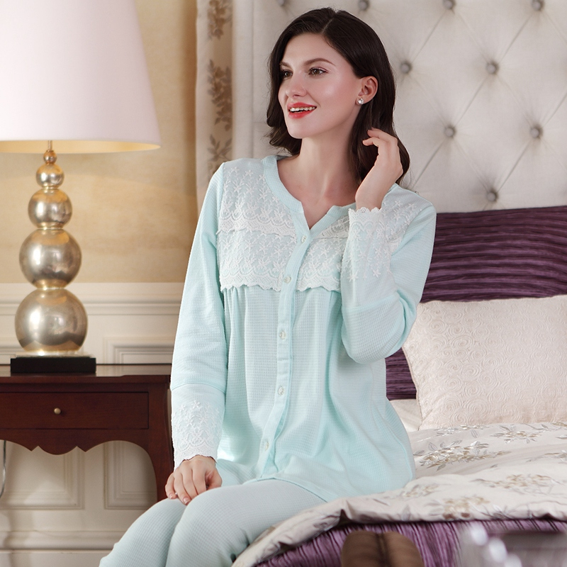 Sally Nice Maternity After Pregnancy Sleepwear For Pregnant Feed Two Phase Breathable Nursing Pajamas Clothing With Eye Mask