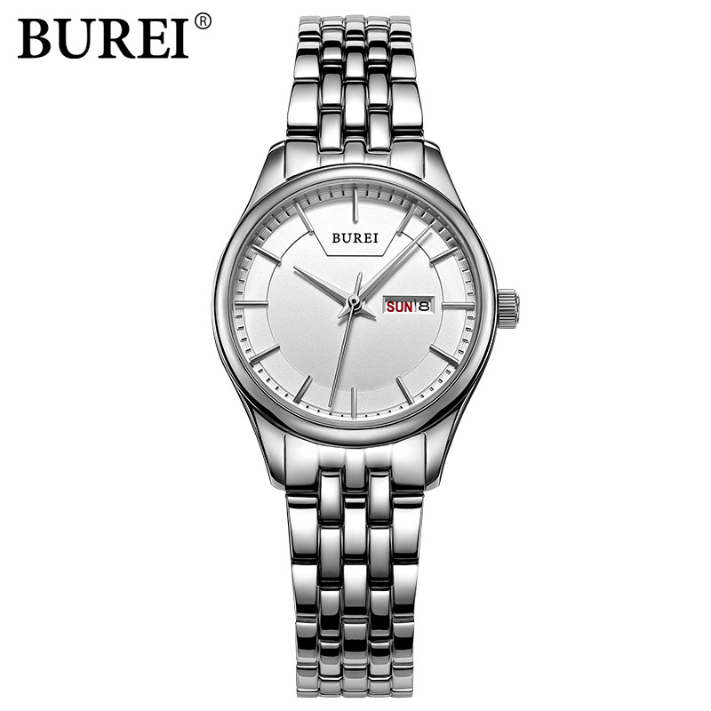 BUREI New Fashion Simple women Quartz watches stainless steel ladies Casual Wristwatches female Business clock hours date week new 2017 popular women casual watch ladies leather luxury watches woman sport quartz wristwatches simple female clock hours gift