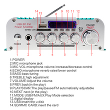 2CH HI-FI Bluetooth Car Audio Power Amplifier Auto FM Radio Player Support SD /