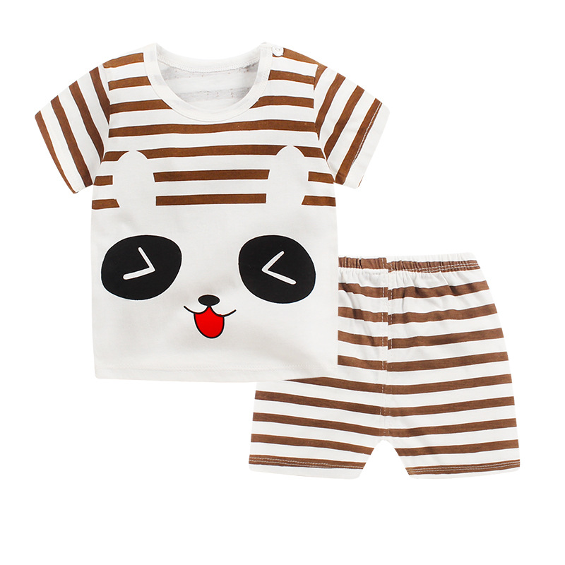 Children's Suit New Cotton Baby Short Sleeve Clothing Set Summer Baby Boys And Girls Body Suit Cartoon Kids Clothing Set