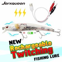 Useful LED Rechargeable Twitching Fishing Lures Bait USB Recharging Cords Precious Fishing 26g Minnow Intelligent LED