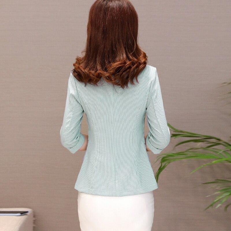 LXMSTH Striped Casual Blazers Women 2018 Spring Summer New Slim Three Quarter Sleeve Blazer Outerwear Office Coat jacket Short
