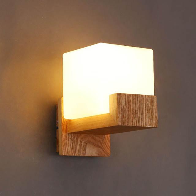 Modern Oak Wood base glass lamp Shade Wall Lamps Bedroom Bedside reading  lamp Bathroom led mirror Lighting Wall Sconces Lighting