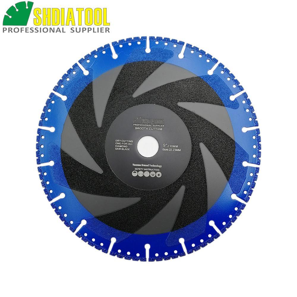 DIATOOL 1pc 230mm Vacuum Brazed Diamond Blade For All Purpose For Stone Iron Steel 9