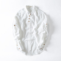 2018 Spring ChineseStyle Retro Linen Shirt Men S Casual Long Sleeve Shirt Cotton Men Slim Collar