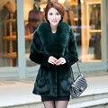 2016 Luxury Genuine Real Rex Rabbit Fur Coat Fox Fur Collar Winter Women Fur Outerwear Coats Lady Clothing 0708