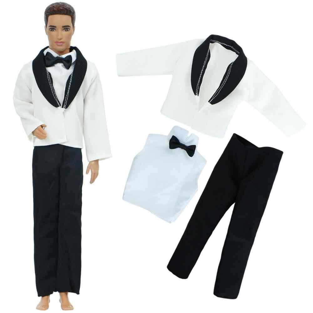 Handmade ตุ๊กตาอุปกรณ์เสริมผู้ชายชุดเสื้อ + เสื้อ + กางเกงผูกโบว์อย่างเป็นทางการ Tuxedo รองเท้าเสื้อผ้าสำหรับตุ๊กตาบาร์บี้ Ken ตุ๊กตาของเล่น