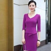 Plus Size Autumn Winter Slim Dress Long Sleeve Dresses OL Styles For Business Women Ladies Work Wear Female Tops Elegant Purple