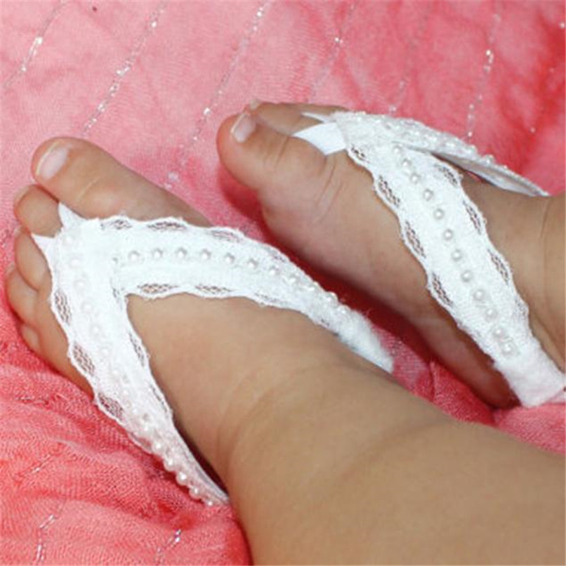 1Pair Fashion Baby Sandals Summer Toddler Baby Beautiful Pearl Chiffon Lace Barefoot Baby Girl Sandals Dropshipping AU08 (7)