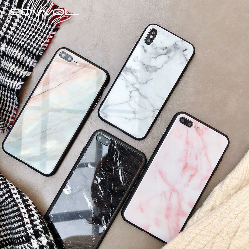 Eqvvol Marble Tempered Glass Phone Case For Apple IPhone X 8 7 6 6s Plus  All Inclusive Case Soft Edge Cover For IPhone 10 Coque