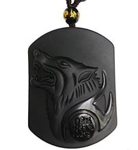 Wholesale 5pcs/lot Natural Black Obsidian Howling Wolf Head Pendant Mens Amulet Lucky Jades Jewelry Pendants+Beads Necklace