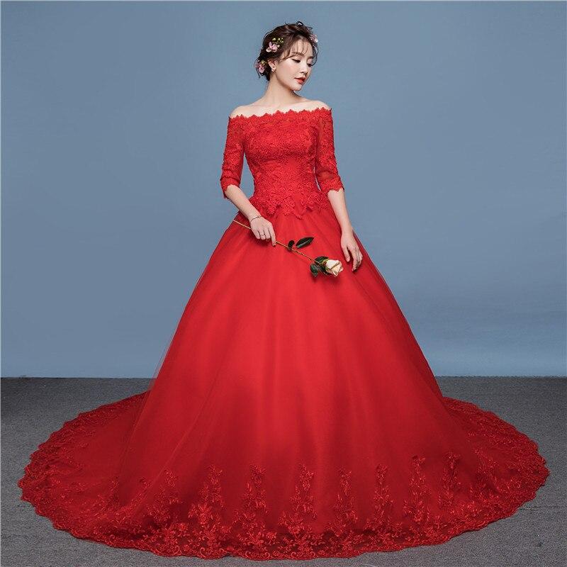 LAMYA Shoulder Red Wedding Dress 2018 Court Train Spring New Bride Red Studio Wedding Dress Wholesale TD20 in Wedding Dresses from Weddings Events