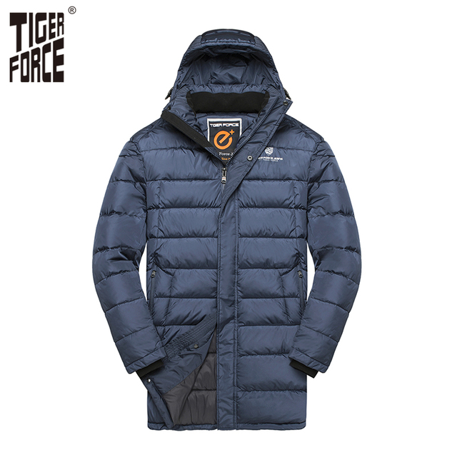 TIGER FORCE 2018 New Men Winter Jacket Fashion Medium-Long Padded Warm Coat Casual Hooded Puffy Coat Men Overcoat Big Size