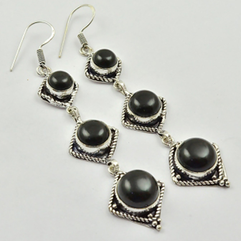 Black Onyx , Silver Overlay on Copper Earrings ,84mm , <font><b>E2640</b></font> image