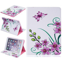 Flower Pattern For Apple iPad Air 2 case Book style Leather Protective Skin for iPad 6 Cover With Card Holder Tablet Accessories