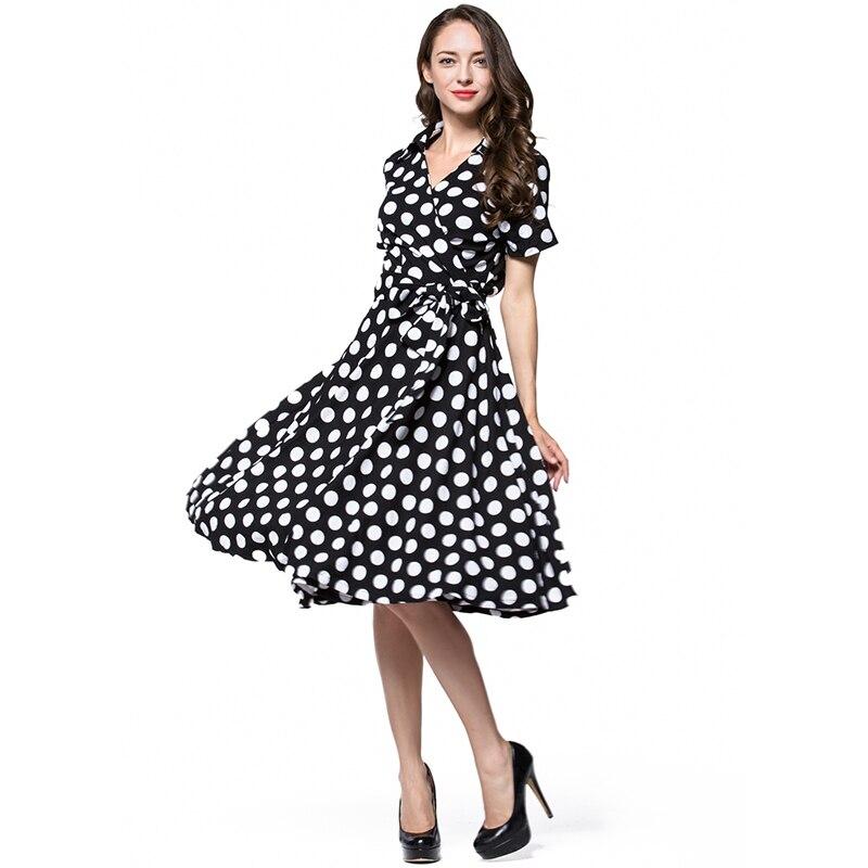 2016 Vintage Classic Summer Wommen Ball Gown Retro Dress V Neck Short Sleeve Patchwork Dot Cardigan