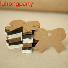 5cm*6cm 100pcs wholesale homemade bow design Kraft paper tags bookmark mood message card DIY scrapbooking accessories