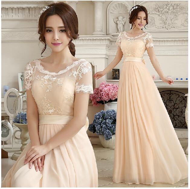 Gaun malam 2016 Baru A-Line Lace Appliques Setengah Lengan Zipper-up Lantai Panjang Elegant Panjang Prom Dress Champagne Gratis Pengiriman