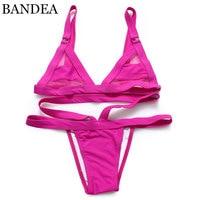 2016 vrouwen Sexy e Mesh Bikini Set Lace Hol Tops Bandage Badpak Badmode Sexy Mini String Thong