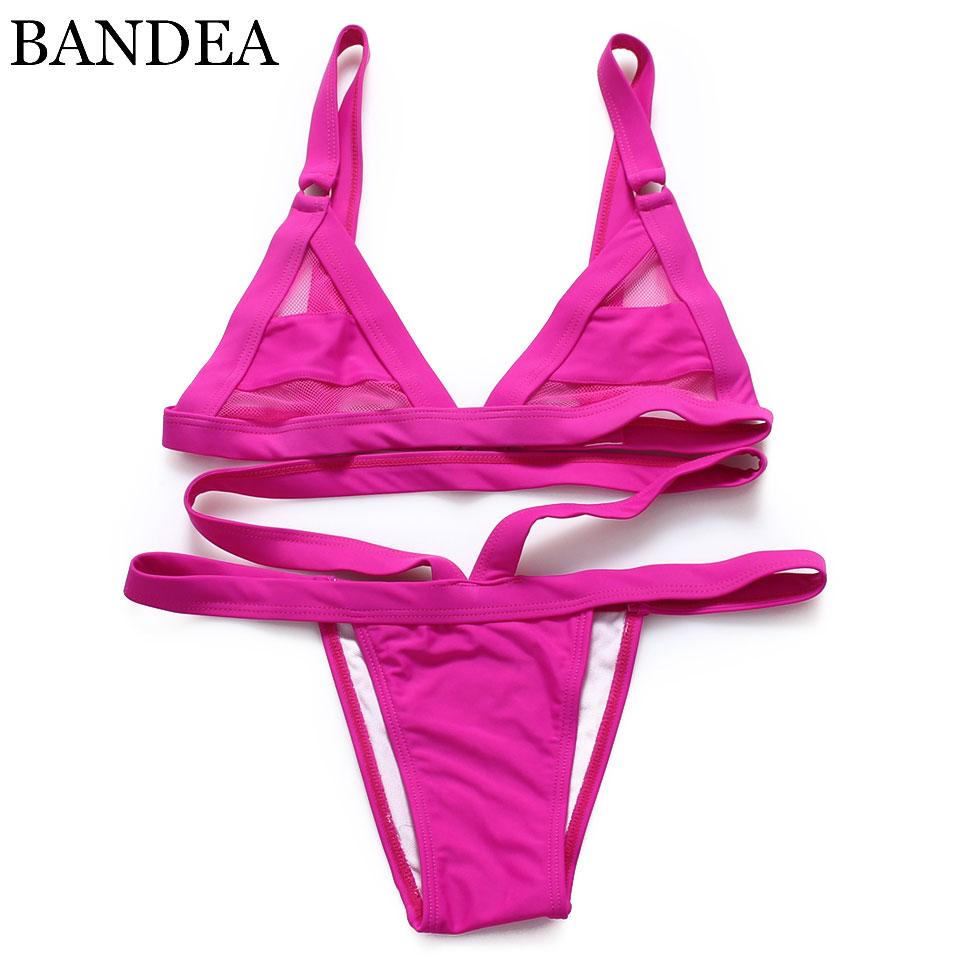 2019 Women 39 s Sexy e Mesh Bikini Set Lace Hollow Out Tops Bandage Swimsuit Swimwear Sexy Mini String Thong in Bikinis Set from Sports amp Entertainment
