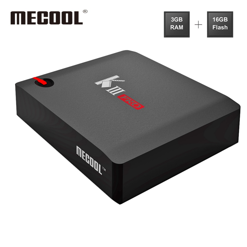 MECOOL KIII PRO ресивер для Smart TV Box Android 7,1 Amlogic S912 Quad-Croe 3g + 16G 2,4/5 ГГц Dual Band WI-FI телеприставки Media Player