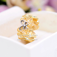 Fashion Jewelry Shine Collection Openwork Butterflies Ring With CZ Gold Overlay Sterling Silver Ring for Women Jewelry