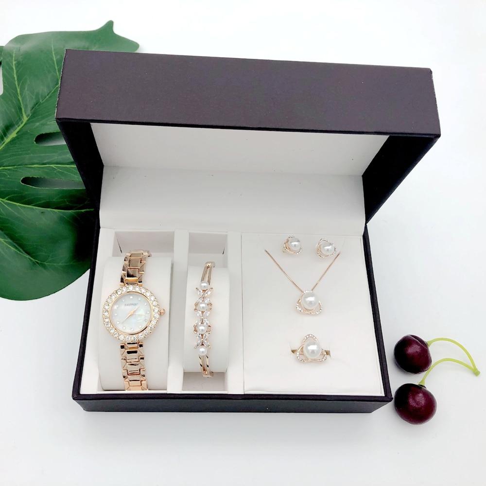 Women Quartz Watch Set Luxury 5 Pcs sets Pearl Bracelet Necklace Ring Earrings Ladies Birthday Gift Fashion Valentine's Day Gift