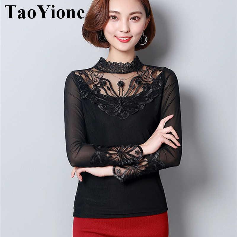 Blusas Femininas кружевная блузка женская с длинным рукавом летняя шифоновая блузка Рубашки 5XL Женские топы повседневная черная белая OL Женская одежда