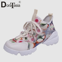 DORATASIA New Brand Flower Print Cool Sneakers Women 2019 Summer Girl Tennis Shoes Fashion Casual Women Wedges Shoes Woman