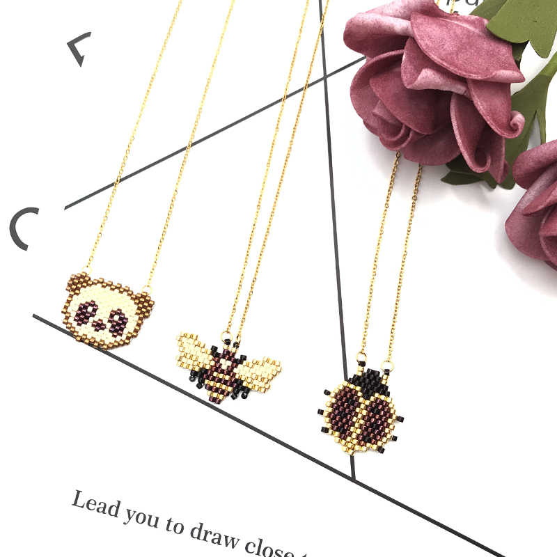 New Fashion Cute Animals Pumpkin Panda Rabbit Bee Skeleton Fox Ladybird Boho Necklace Handmade Miyuki Glass Beads Crystal Choker