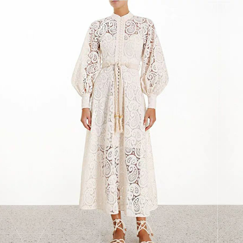 2019 Runway Designer Resort Hollow Out Woman Long Dress Long Sleeve Lace Embroidery Sashes Dress Beach