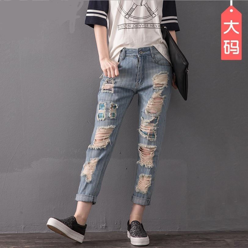 2XL 8XL plus size stripe cotton Ankle Length Pants 2017 new fashion women s stiching bleached