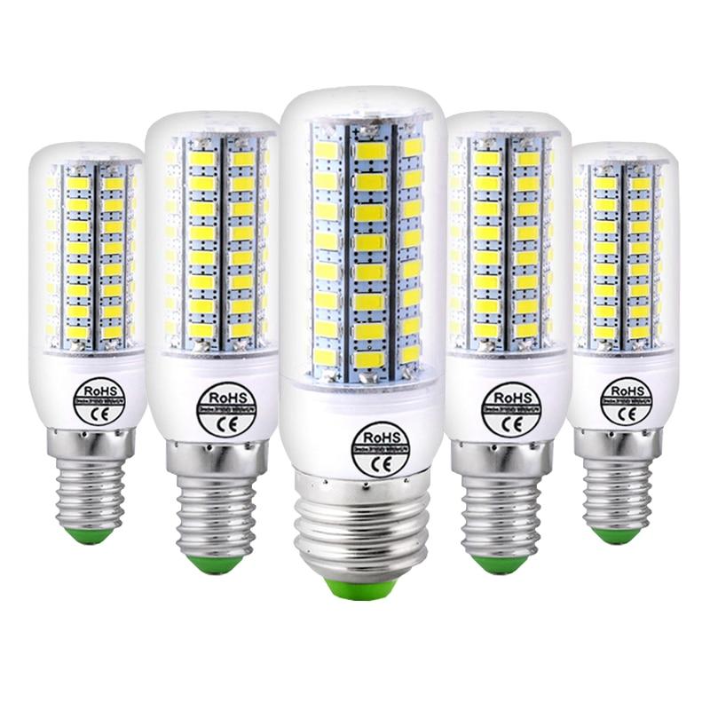 10PCS/Pack E27 LED Lamp E14 LED Bulb SMD5730 220V Corn Bulb 24 48 56 69 72LEDs Chandelier Candle LED Light For Home Decoration e cap aluminum 16v 22 2200uf electrolytic capacitors pack for diy project white 9 x 10 pcs