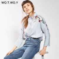 2017 New Embroidery Floral Women Blouse Shirt Light Blue High Quality Soft Fashion Casual Long Sleeve