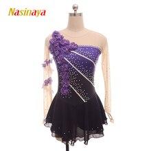 Nasinaya איור החלקה החלקה על קרח חצאית תחרות שמלה מותאם אישית לילדים נשים בחורה Patinaje התעמלות ביצועים 109