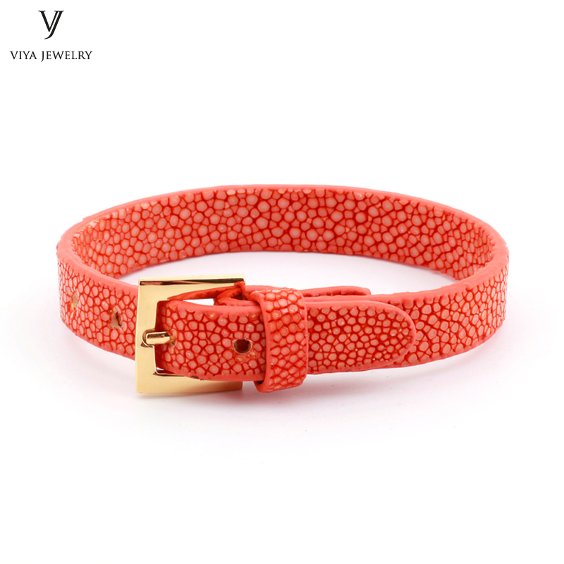 Simple Clasp Flat Stingray Python Cord Wrap Bracelet Charm Cuff Leather Men Bracelet 8mm Real Python Stingray Leather Wristband Adjust Bracelet (45)