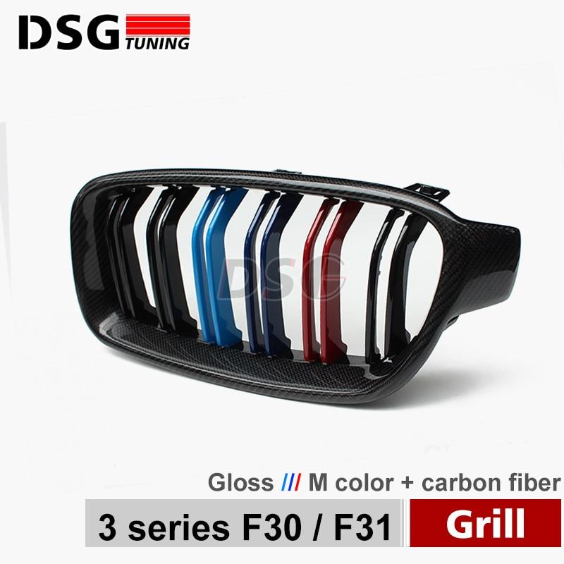 F30 F31 углеродного волокна ABS передняя ноздри для BMW 3 серии гриль 320i 325i 328i 330d 330i 335i 340i