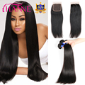 Brazilian Virgin Hair With Closure Straight Human Hair And Lace Closure Rosa Queen Hair Products 3/4 Bundles With Closure Bundle